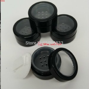 5G Black Loose Powder Container Empty Plastic Cream Jar 10G DIY Cosmetic Sifter Box with Puff Packaging Case 80pcs lotgood qualtty