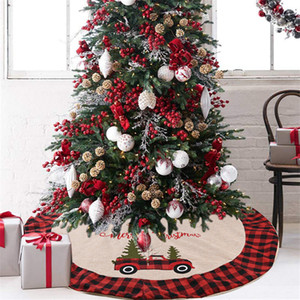 Arpillera falda del árbol de Navidad con bordado rojo de la frontera y Negro tela escocesa Árbol de la falda de la decoración de las decoraciones de Navidad JK2010XB