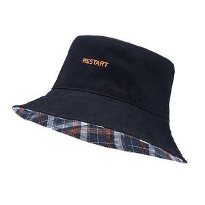 Reversible Plaid Bucket Hat Restart Ladies Women Men Sun Fishing Hat Fisherman Cap Panama Pop Hip Hop Harajuku Hunting Outdoor Summer Winter