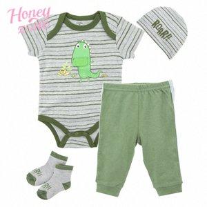 Dinosaur Honeyzone recém-nascido Roupa do bebé Set Verde Romper + chapéu + calça sapatos 4pcs Vestuário Terno MfOG #