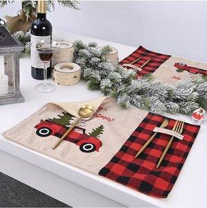 Noël Plaid Table Mat Set de table salle à manger Tapis Décoration pour la maison Kitchen Party Set de table de Noël Cadeaux Fournitures Nappe FWD2420