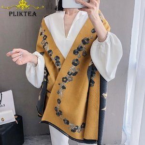 New Flower Print Yellow Women's Scarf Shawl Floral Poncho Female Winter Blanket Scarves Faux Cashmere Stole Pink Wool Wrap 201020