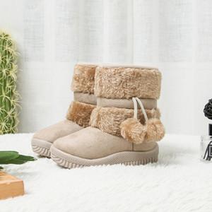 Jgshowkito Girls Boots Inverno Scarpe per bambini caldi Peluche in cotone caldo Inside Bambini Stivali da neve Anti-slippery Pura Pallone Pendente Cute Boots LJ201029