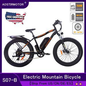 AOSTIRMOTOR Электрический велосипед 750W снег велосипед Электрический велосипед Горный велосипед 26inch 4,0 Fat Tire Ebike 48V 13Ah литиевая батарея