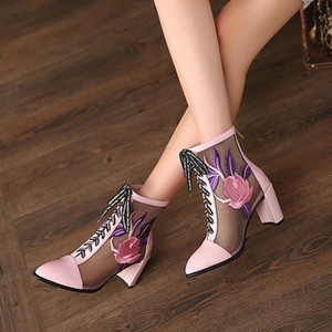 YourSeason Ladies Summer Genuine Leather Lace Up Boots Pointed Toe Embroider 2020 New Women Mesh Handmade High Heels Sandals
