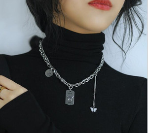 n1804 Fashion stainless steel butterfly necklace sweater chain double chain long chain dog tag medal necklace for girlfriends gifts .mother