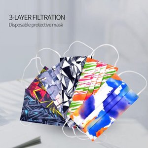 Masks Disposable Blocking Mask Printed Adults Air Mouth Ply Party For Face Dust Cover Anti-Pollution Mask Designer Breathable 3 Masks Xffbr