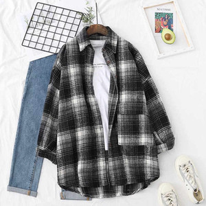 Spring Autumn Fashion Retro British Style Frosted Plaid Shirt for Lovers Loose Medium Length Thickened Shirt Coat 16238