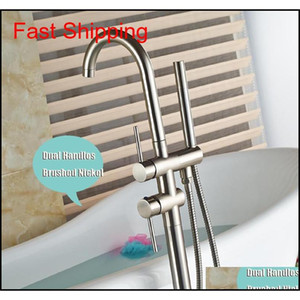 Wholesale And Retail Solid Brass Brushed Nickel Bathroom Tub Faucet Free Standing Tub Filler W  Brass H qylmPR homes2011