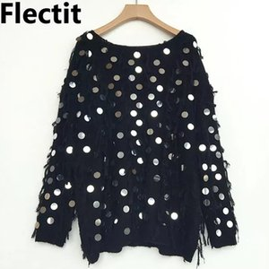 Flectit Женщины Metallic пришивания Fringe свитер черный белый Sequined пуловер Крупногабаритные прыгун Осень Зима Tops * 201017