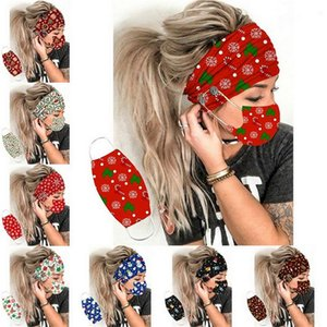 2Pcs Set Christmas Button Headband Face Mask Turban Hair Accessories Soft Yoga Sports Elastic Hair Band Fashion With Party Mask Women