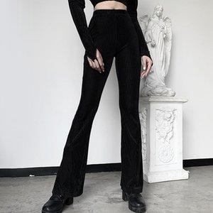 Женщины Ретро Повседневный готические Бархатные Vintage высокой талии клеш брюки широкого покроя