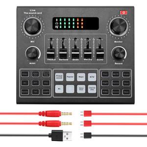 V9 الصوت USB سماعة الميكروفون بث حي بطاقة الصوت 12 تأثيرات صوتية كهربائية البث للهاتف حاسوب
