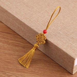 5 unids Red Beads Mini Knot Chino Tassel DIY Accesorios de Joyería DIY Casa Textil Cortina Ropa Costura Macrame Decoración Colgante H Jllwvk