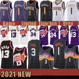 2021 New Basketball Jersey PhoenixSunsMens Devin 1 Booker Chris Steve 13 Nash 3 Paul Charles 34 Barkley Lavender