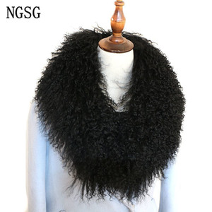 NGSG Kadınlar Gerçek Kürk Yaka Katı Siyah Doğal Orijinal Moğol Koyun Yün Kürk Eşarp Coat Yaka Kış özelleştirme Multicolors Y201007