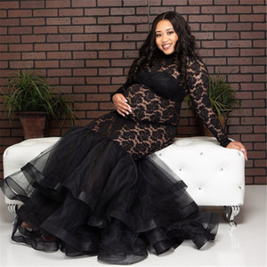 New Black Sexy Maternity Dresses For Photo Shoot Lace Mesh Maxi Gown Long Pregnant Women Fancy Pregnancy Dress Photography Props