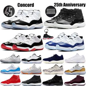 25e anniversaire Hommes 11 11s chaussures de basket-ball Jumpman Bred Concord 45 Cap Space Jam et robe Sneakers légende femmes bleu sport Formateurs