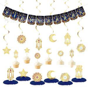 vUeWh islamische Ramadan Fest-Basiskarte Dekoration gesetzte Flag-pulling Eid al-Fitr Mond hängt Basis Fahnen Einfügen Waben Partei S3UyO