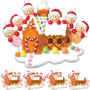 2020 Family Candy House Christmas Tree Hanging Pendant DIY Name Christmas Ornament Christmas Birthdays Party Decoration Gift