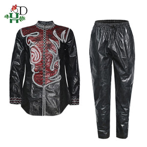 H&D Mens Dashiki Shirt Pants Set Embroidery Bazin Riche Tops Trousers Suit South African Male Formal Attire 2020 Wedding Party