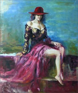 Large Posing Female Model Home Decor Handpainted &HD Print Oil painting On Canvas Wall Art Canvas Pictures