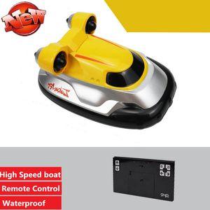 RC Hoverkraft Toy ile Yeni Mini 2.4G Uzaktan Kumanda Tekne 25KM / H Yüksek Hızlı Güç Motorlu RC Yarışı Tekne Oyuncak Kid hediye oyuncak sürat teknesi