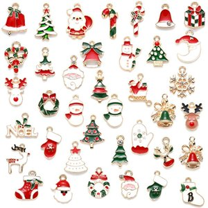 38types set 10-25mm oil-drop Christmas element metal beads for jewelry making pendant for bracelet necklace and earrings
