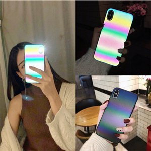 COOL Laser Rainbow Luminous Phone Case For iphone 11 Pro X XS Max XR Glitter Case for iphone 7 8 Plus SE 2020 Matte Cover Coque