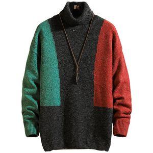 Nova suéter de gola alta para homens pulôver masculina Mens Sweater Fashion Designer Sweater Mens Contraste Color Manga Longa Suor Plus Size M-5x