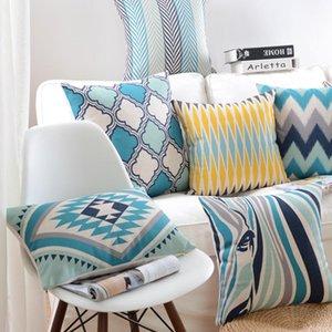 وسادة / وسادة الزخرفية الملونة الوسائد هندسية يغطي غطاء وسادة الأزرق ديكور المنزل ديكور رمي سيارة كرسي ل أريكة