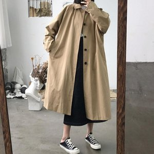 2020 New Elegant Women Fashion Long Trench Coat Female Solid Khaki Cardigan Straight Windbreaker vintage outwear spring FY69