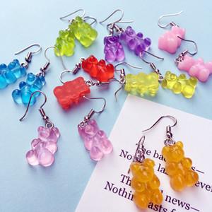 Cute Jelly Gummy Bear Earrings For Women Cartoon Candy Color Animal Bear Drop Earrings Gift