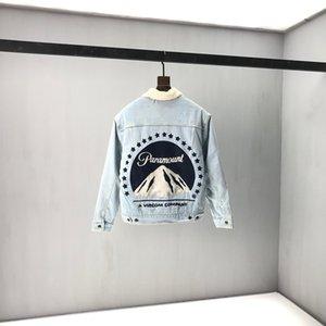 de alta qualidade botão Europa Itália Outono Inverno Snow Mountain multi bolso Men Lambswool denim Jacket Mulheres Jeans Brasão