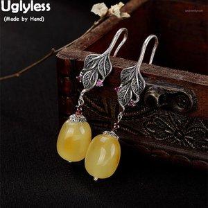 Pendientes étnicos de hojas de plata hecha a mano Uglyless para mujeres Pendientes de ámbar de lujo genuino sólido 925 plateado joyería fina gems1