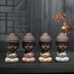 5 Farben Kleine Buddha-Statue Mönch Figur Indien Yoga-Mandala Tee Pet Ceramic Crafts dekoratives Geschenk