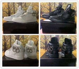 CDG x 1 des Garons buckle straps Black White Men Women Basketball Shoes Sneakers 1s Pull ring Jumpman mens ladies trainer