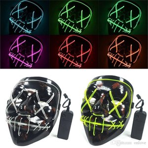 Masquerade Halloween Neon Mask Led Scary Election Mask Skull Funny Dark Cosplay Purge Party Light Glow In Masks Up Movie Costume XD1980 Cqai