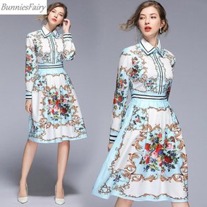 BunniesFairy 2020 Spring Autumn Women Runway Vintage Retro Paisley Geometric Flower Floral Print Long Sleeve Shirt Dress Casual