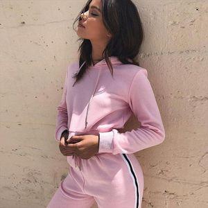 Tracksuit 2pcs Women Hoodies Crop Top Sweatshirt Side Stripe Pants Hooded 2 Pieces Women Clothing Suits Female