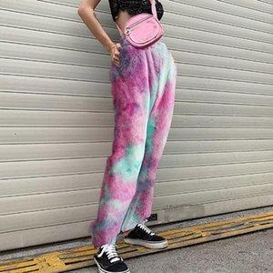 Wool Women Sweatpants Fashion Harajuku Jogger Sports Pants Colorful Track Pants Slim Streetwear Trousers Print High Quality