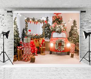 Fotografia Grinalda Backdrops festa natalícia do inverno Árvore de Natal Fundo de Natal Decor Car Retro Red fundo verde pinho Photo Shoot Prop