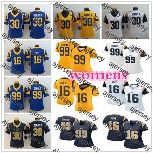 Mujer de Los AngelescarnerosDamas Gurley 30 Todd Gurley II 99 Aaron Donald 16 Jared Goff azul Chicas del jersey del fútbol cosido camisas