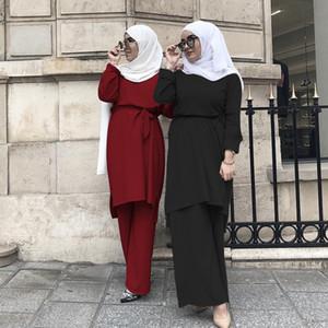 Müslüman 2Pecs Kadınlar Dubai Arap Bluz Pantolon ayarlar Abaya Geniş Bacak Pantolon Ramazan Türkiye Afrika BAE İslam Giyim Prayer 201008 Dantel-up