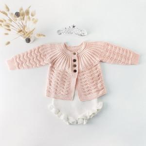 Baby Girl Malha Romper Sweater Conjunto Sólido Cor Queda Da Criança Jumpsuit Recém-nascido Set Bebê Outfit Roupas