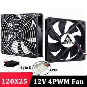 Gdstime 120mmx25mm 12V 4Pins FG PWM PC Computer Case CPU Cooler Cooling Fans 12025 12cm 5inch Desktop case Heatsink