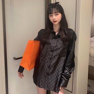 Unisex Couple Shirt Casual Sweatshirt Fashion Hip-Hop Streetwear Embroidery Letters Lapel Long Sleeve Black White SIZE M-XXL