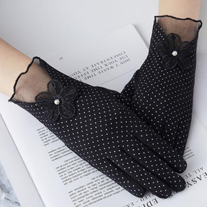 Women Fashion Knit Lace Driving Touch Screen Thin Cotton Gloves Sexy Summer UV Sunscreen Short Sun Bow Dots Flower Glove I29