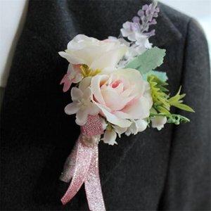 Artificiale Wedding Flower Best Man Boutonnieres Groomsman Asole Asole Padre Corsage Prom Party Vestito Accessorio Decorazione