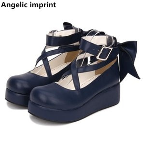 Angelic imprint woman mori girl lolita cosplay shoes lady mid heels pumps wedges women princess dress party shoes big bowtie 5cm